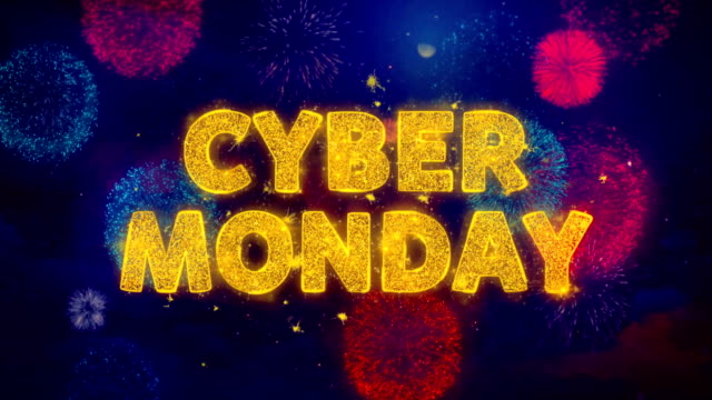 cyber monday text on colorful firework explosion particles. - cyber monday стоковые видео и кадры b-roll