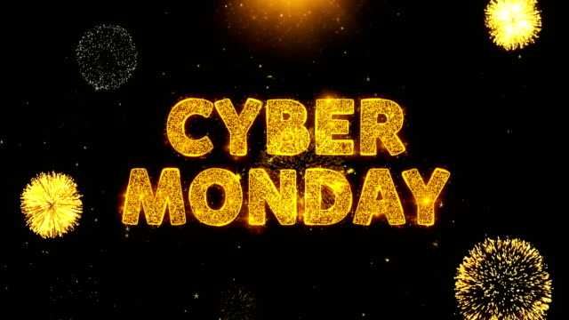 cyber monday text on firework display explosion particles. - cyber monday стоковые видео и кадры b-roll