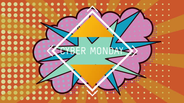 Cyber Monday text on speech bubble against yellow and orange background