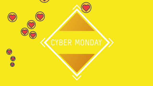 Cyber Monday text on square shape against red hearts icons on yellow background