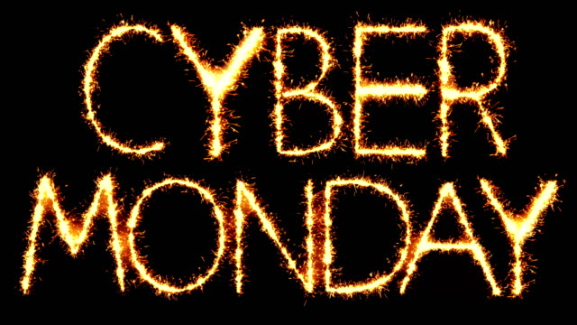 cyber monday  text sparkler glitter sparks firework loop animation - cyber monday стоковые видео и кадры b-roll
