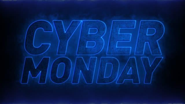 Cyber Monday texto Animación Cyber Monday, texto en llamas azules cyber monday stock videos & royalty-free footage