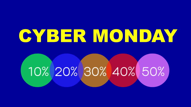 cyber monday video with percentages discount label - cyber monday стоковые видео и кадры b-roll