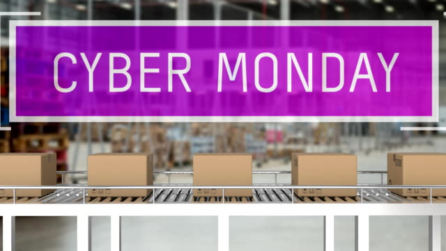 Cyber Monday with parcels on conveyor belts Animation of the words Cyber Monday in white letters on a purple banner with cardboard boxes moving on conveyor belts cyber monday stock videos & royalty-free footage