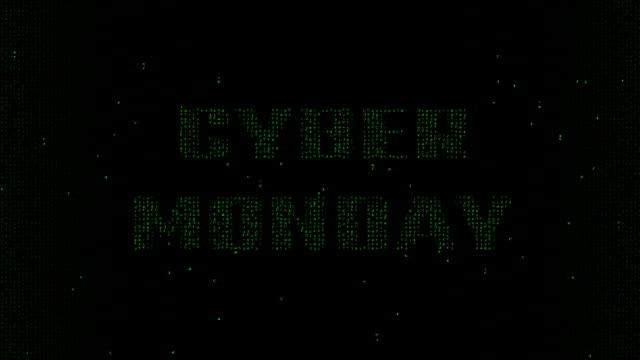 Cyber Monday words on matrix code background video