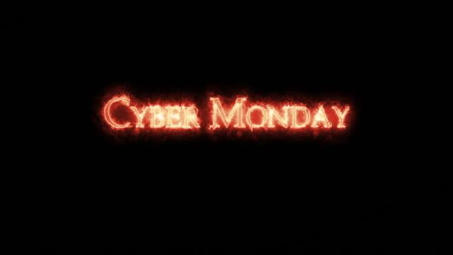 cyber monday written with fire. loop - call center стоковые видео и кадры b-roll