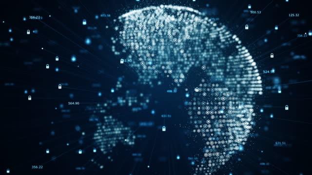 vidéos et rushes de cyber-sécurité et concept de communication globale. analyse de l'information. données de technologie code binaire réseau de transport connectivité, protocole de protection des données et de l'information. - tirelire