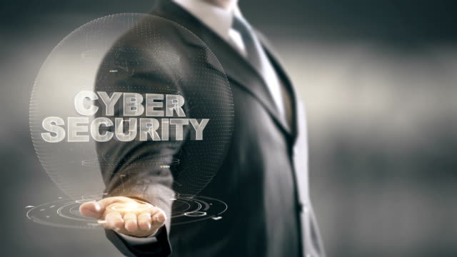 Cyber Security Businessman Holding in Hand New technologies
