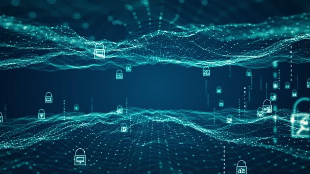 サイバーセキュリティの概念。デジタルネットワークデータの背景に南京錠アイコン。 - 安全点の映像素材/bロール