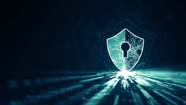 Cyber security concept. Cyber security concept. Shield With Keyhole icon on digital data background. Illustrates cyber data security or information privacy idea. Blue abstract hi speed internet technology. keyhole stock videos & royalty-free footage