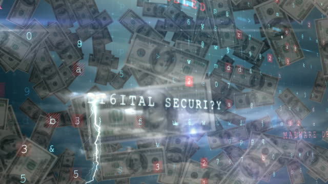 Cyber security concepts against American dollars falling