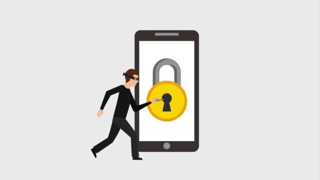 vídeos de stock e filmes b-roll de cyber security data animation hd - vírus informático
