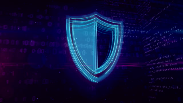 Cyber security digital concept with shield Cyber security abstract concept. 3D contour of shield icon on digital background. Computer safety symbol animation. shield stock videos & royalty-free footage