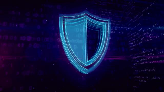 vídeos y material grabado en eventos de stock de concepto digital de cyber seguridad con escudo - shield