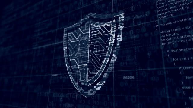 vídeos y material grabado en eventos de stock de esbozo futurista de seguridad cibernética - shield