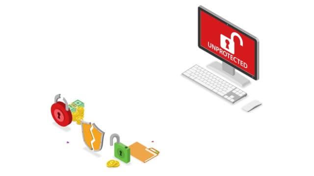 koncepcja izometryczna cyberbezpieczeństwa - phishing filmów i materiałów b-roll