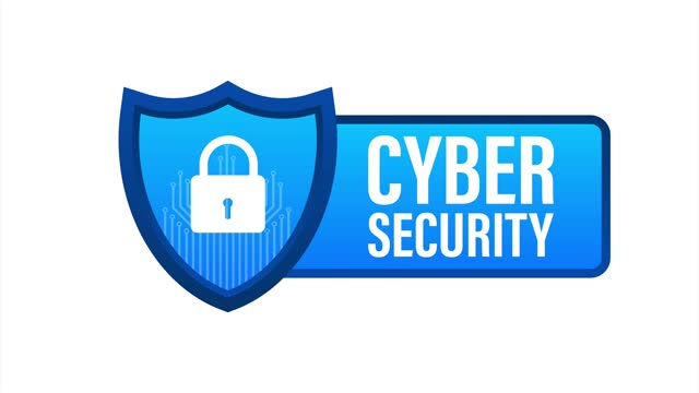 Cyber security logo with shield and check mark. Security shield concept. Internet security. Stock illustration.