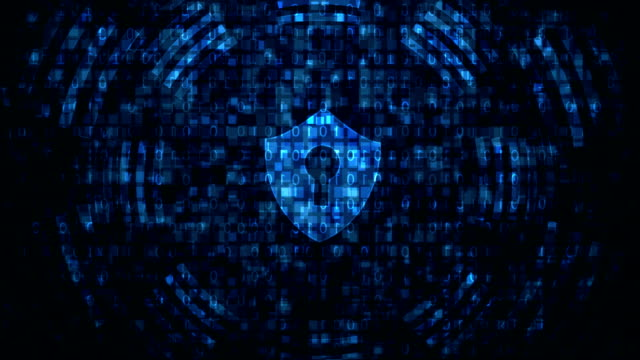 Cyber security Internet technology cyber security concept of protect and scan computer virus attack   on Blue abstract background. padlock stock videos & royalty-free footage