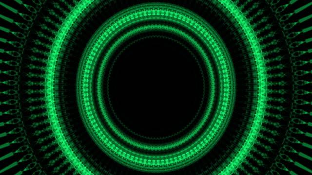 stockvideo's en b-roll-footage met cyber tunnel. cyber space cirkel groene achtergrond. 4k - ring juweel