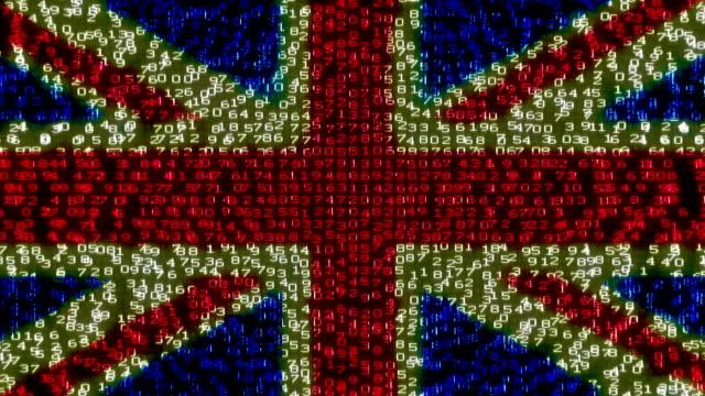 Cyber UK Flag - Digital Data Code Matrix video