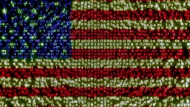 Cyber USA Flag - Digital Data Code Matrix video