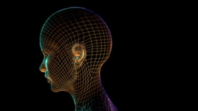 cyber donna faccia bionic tech - testa video stock e b–roll
