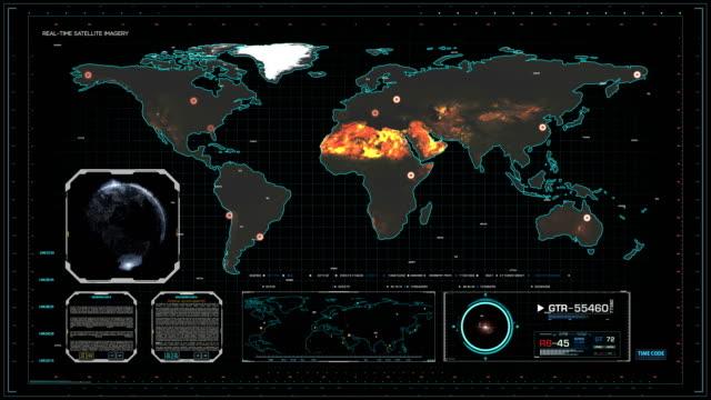 vídeos y material grabado en eventos de stock de cyber mapa del mundo en sala de control central del ciberespacio - air force