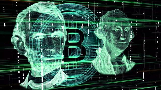 valuta cybermoney in dollari digitale - criptovaluta video stock e b–roll