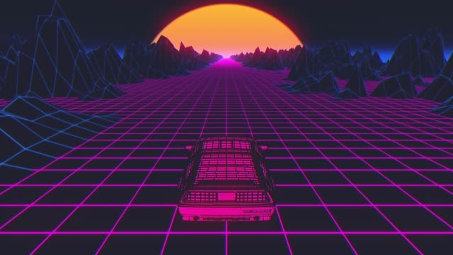 Cyberpunk car in 80s style moves on a virtual neon landscape