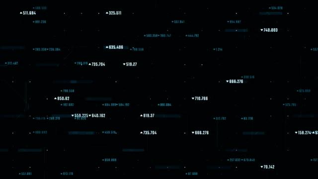 cyberspazio abstract contesto finanziario con numeri che si muovono verso l'alto. - numero video stock e b–roll