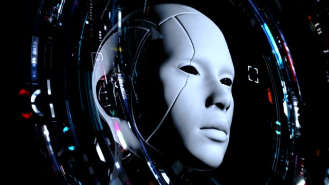 cyborg girl reads data from a futuristic interface. - ai stock videos & royalty-free footage