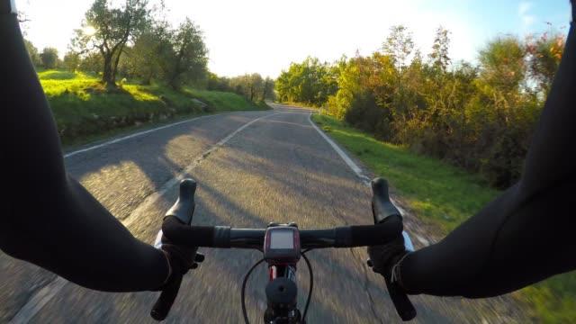 Cycling downhill in Chianti region, Tuscany. POV video
