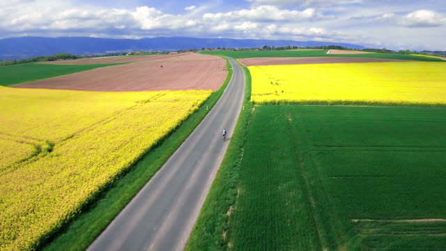 Cycling in country side - aerial