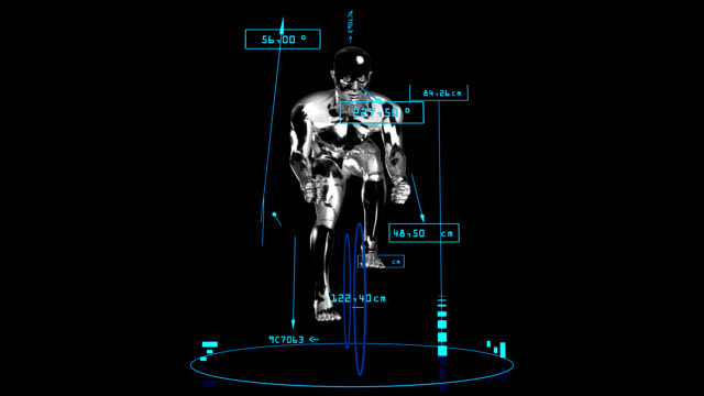 3D cyclist man with technical data