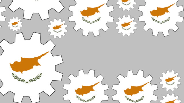 Cypriot flag gears shaping euro symbol Digital animation of turning cypriot flag gears shaping euro symbol while zooming out for business concept schengen agreement stock videos & royalty-free footage