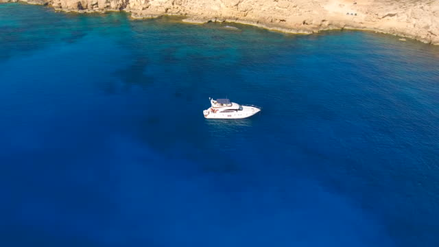 Cyprus, Ayia Napa. Aerial View. Blue lagoon. Beautiful landscape and sea waves video