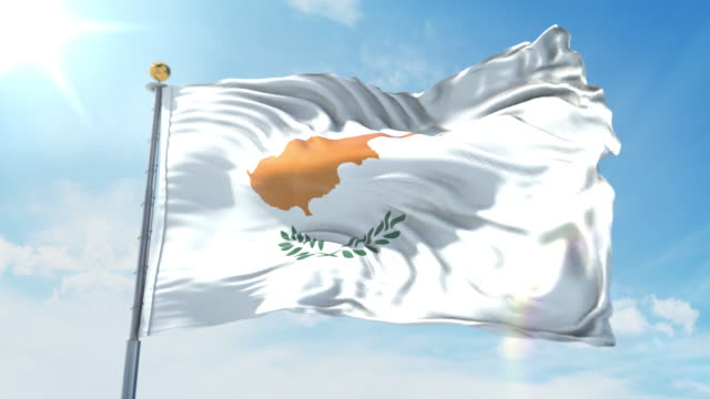 Cyprus flag waving in the wind against deep blue sky. National theme, international concept. 3D Render Seamless Loop 4K Cyprus flag waving in the wind against deep blue sky. National theme, international concept. 3D Render Seamless Loop 4K allegory painting stock videos & royalty-free footage