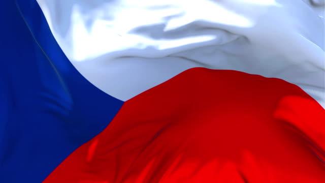 チェコ共和国の旗風スロー モーション アニメーションに。4 k 現実的なファブリックのテクスチャ フラグ スムーズに風の強い日連続シームレスなループ背景に吹きます。 - チェコ共和国点の映像素材/bロール