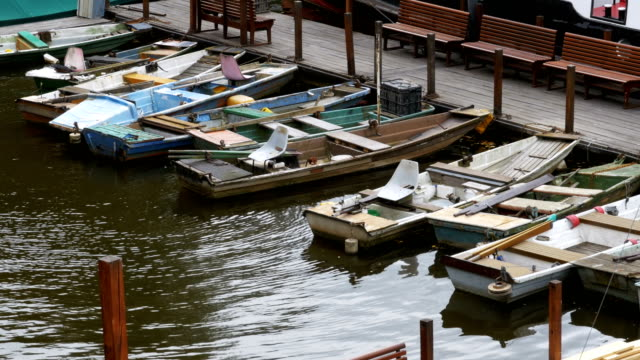 Czech Republic, Prague. Old Small Boats Parked in the Dock video