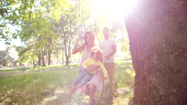 Dad pushing mom and little girl on a swing Happy dad pushing mom and their little girl on a swing under a tree in slow motion swinging stock videos & royalty-free footage