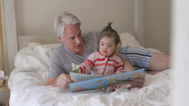 daddy liest eine geschichte - menschliche erzeugnisse stock-videos und b-roll-filmmaterial