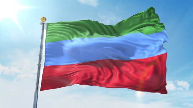 Dagestan flag waving in the wind against deep blue sky. National theme, international concept. 3D Render Seamless Loop 4K Dagestan flag waving in the wind against deep blue sky. National theme, international concept. 3D Render Seamless Loop 4K allegory painting stock videos & royalty-free footage