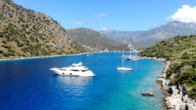 daily boat trip. blue voyage. st. nicholas island from oludeniz, fethiye / turkey. - fethiye video stock e b–roll