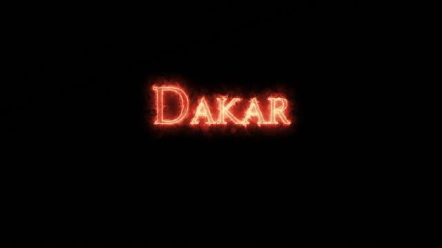 dakar written with fire. loop - dakar video stock e b–roll