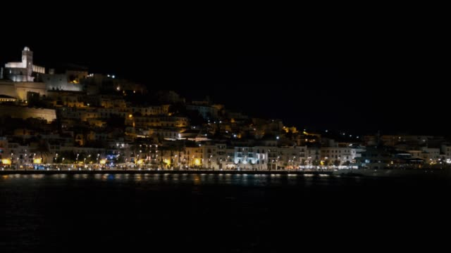 dalt vila ibiza castle at night - ibiza filmów i materiałów b-roll