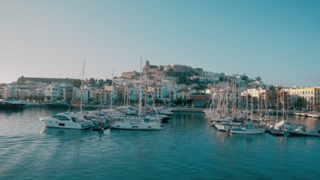 dalt vila ibiza old town fortification port harbour - ibiza filmów i materiałów b-roll