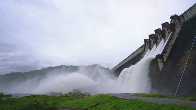 Dam with floodgate.