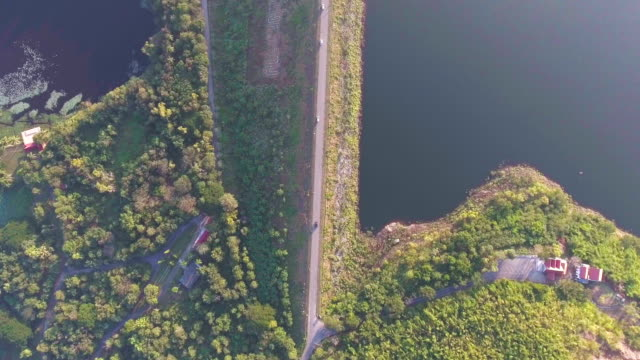 Dam with Road on Edge with Drone, Aerial top view video