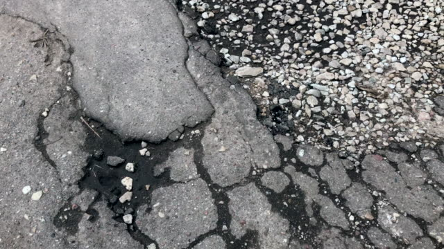 Damaged asphalt road video