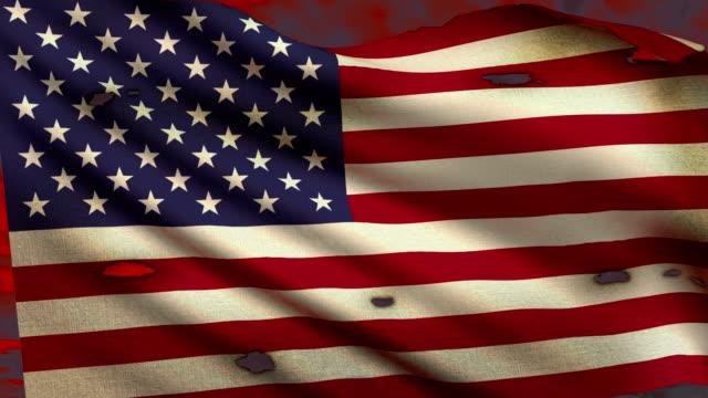 uszkodzony spalony usa flaga macha - american flag filmów i materiałów b-roll